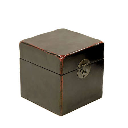 old container: Old black box in grunge condition isolated