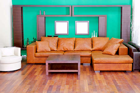 Green living room with brown leather sofa Stock Photo - 3060204