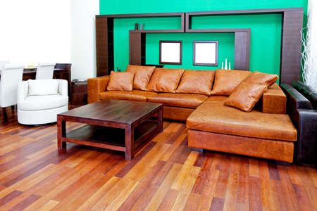Green living room with brown leather sofa photo