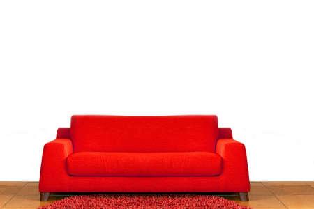 red sofa: Big comfort red sofa in living room