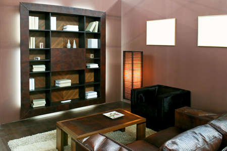 Brown living room with wooden book shelf photo