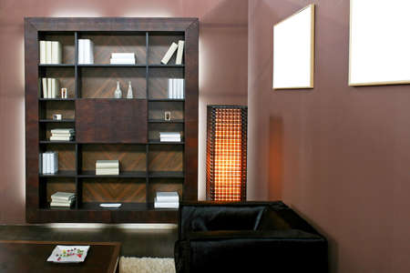 Wooden book shelf in brown living room Stock Photo - 3082375