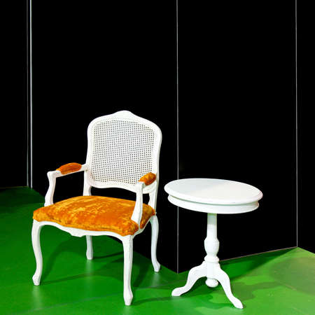 Old style white chair and round table Stock Photo - 3082372