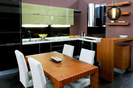 contemporary kitchen: Contemporary kitchen with brown dinning table and chairs