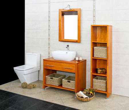 Big bathroom with natural style wooden furniture