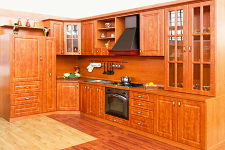 classics: Classics style big country kitchen made from wood Stock Photo