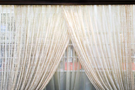 Old semi transparent double side light curtains Stock Photo