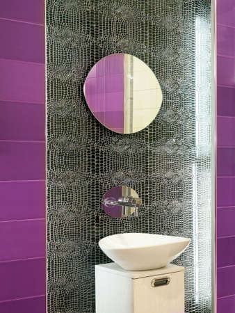 lavabo: Contemporary bathroom design with broken mirror wall Stock Photo