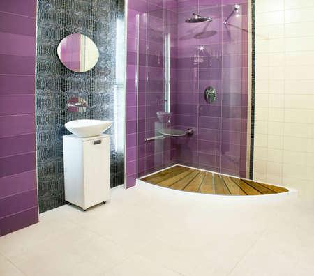 Big bathroom with purple ceramics and glass shower Stock Photo - 3108655