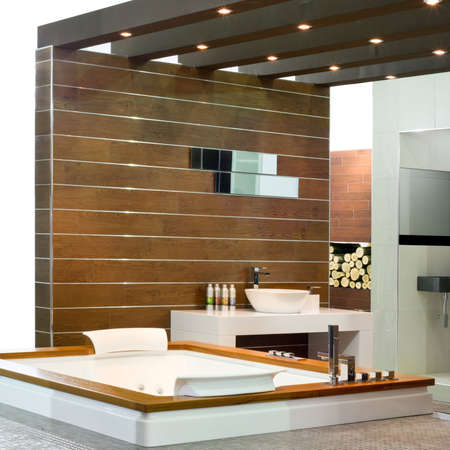 lavabo: Contemporary bathroom with wooden walls and spa bathtub