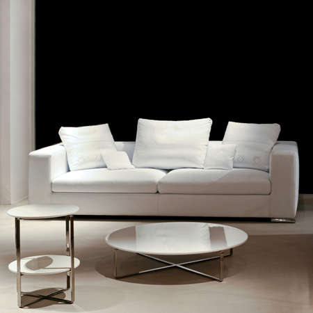 Living room at night with sofa and table