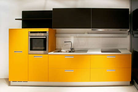 Big new kitchen with yellow counter furniture