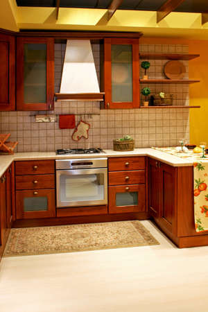 Wooden kitchen in classic country style home photo
