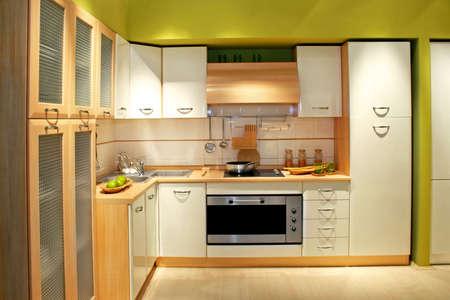 kitchen counter: Modern wooden kitchen counter with big cabinet