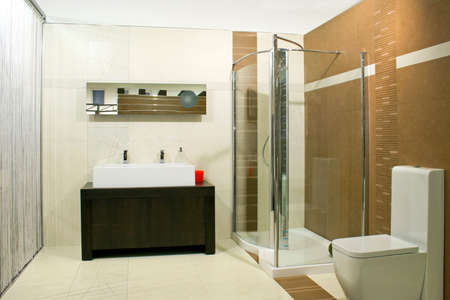 Classics bathroom with glass shower and big basin
