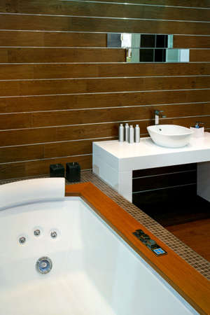 Contemporary bathroom with wooden walls and spa bathtub Stock Photo - 3133561