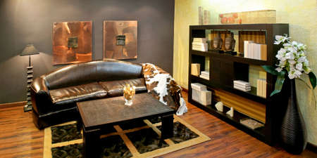 cowhide: African style living room with lot of details