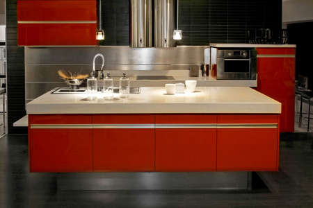Big red kitchen counter with all appliances Stock Photo - 3172204