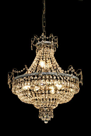 Big luxury chandelier with lot of crystals Stock Photo