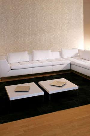 sitting area: Big sitting area with white leather sofa Stock Photo