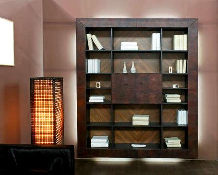 book shelf: Wooden book shelf in brown living room