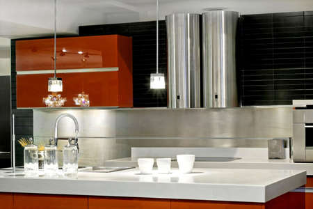 countertop: Modern kitchen countertop with double metallic ventilation