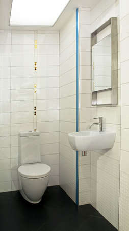 Basin and toilet in small lavatory angle Stock Photo - 3265420