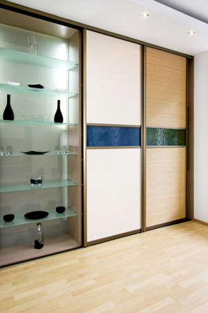 double glass: Double big bamboo closet and glass shelf
