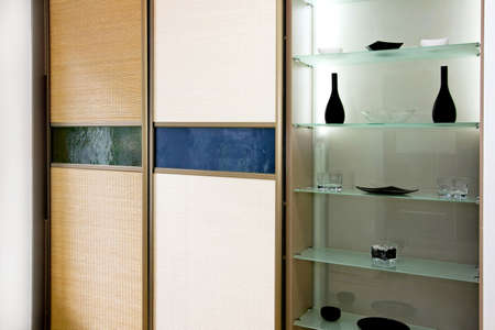 Double big bamboo closet and glass shelf Stock Photo - 3284274