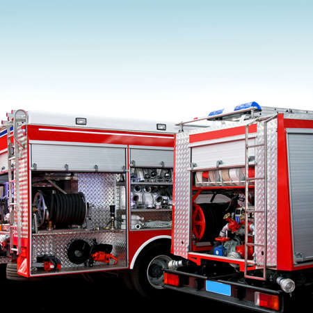 brigade: Fire engine trucks with lot of equipment