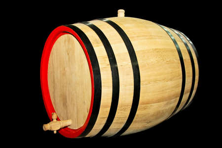 Big wooden barrel for beverages isolated on black Stock Photo - 3300798