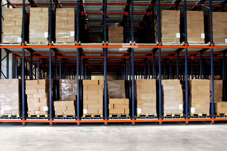 hardware store: Big shelf with lot of pallets in warehouse  Stock Photo