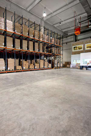 Big shelf with lot of pallets in warehouse Stock Photo - 3326847