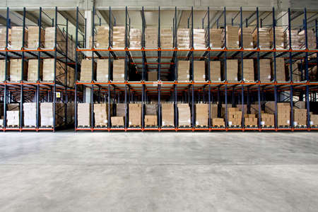 factory interior: Big shelf with lot of pallets in warehouse Stock Photo