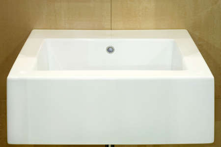 wash basin: Minimalism and simple white basin in square shape Stock Photo