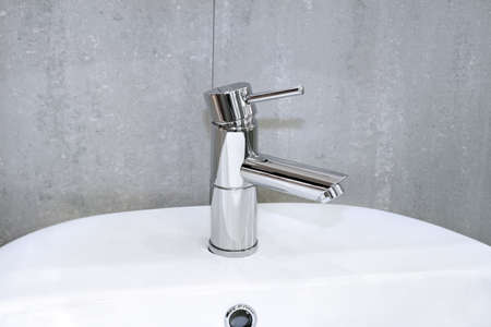 Modern and simple water pipe chrome faucet Stock Photo - 3339389