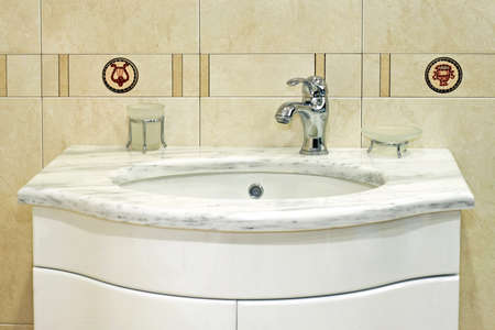 lavabo: Classics wash basin with white marble top Stock Photo
