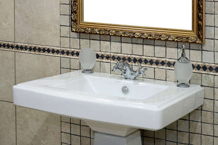 Italian style basin and faucet with ancient tiles