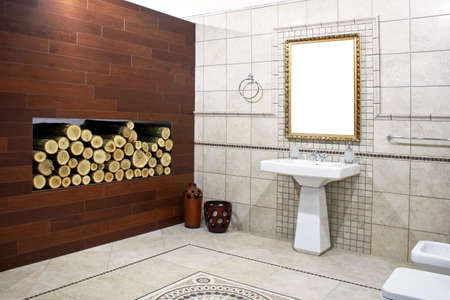 Italian style bathroom with ancient mosaic and logwood