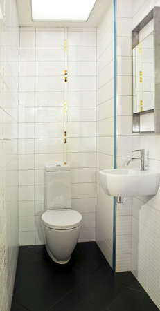Basin and toilet in very small lavatory Stock Photo - 3346775