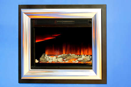 gas fireplace: Gas and electronic fireplace window in wall