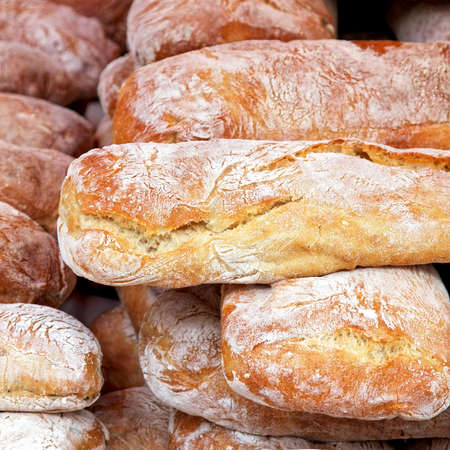 Close up shot of white bread loafs Stock Photo - 3449624