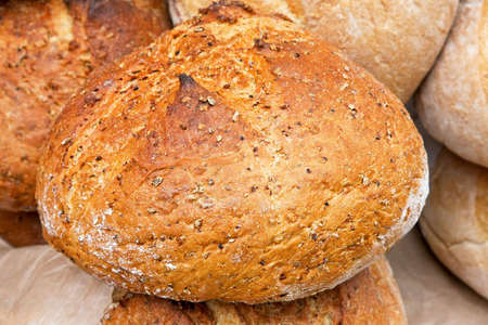 Hand made brown multi seeds loaf close up Stock Photo - 3449632