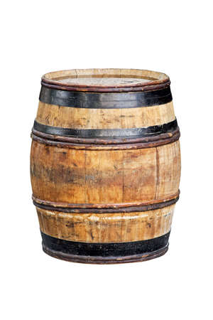 Old style wooden barrel for beverage isolated