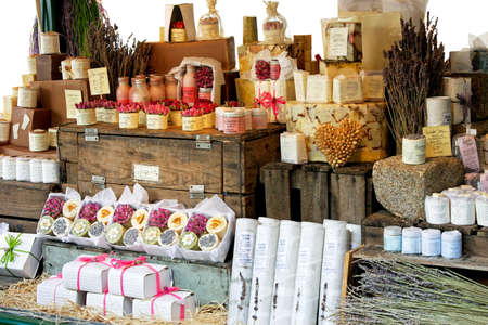 Variety of aromatherapy and spa soaps and natural cosmetics photo