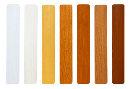 balsa: Seven maple wood samples in brown palette Stock Photo