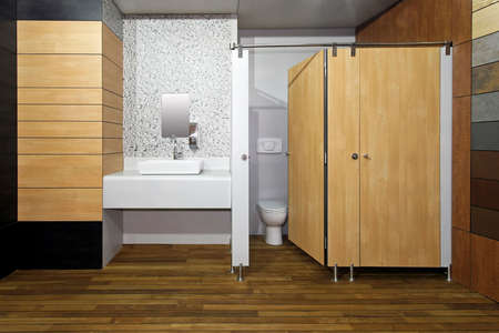 New public toilet room with double cabins