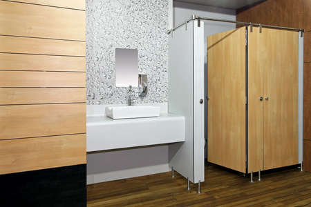 lavabo: Public toilet room with double cabins angle
