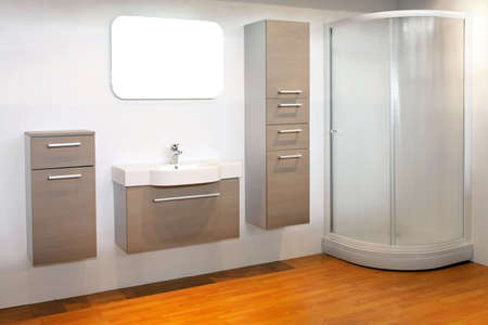 Big white bathroom with cornet shower room