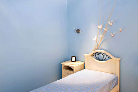 bedchamber: Children bedroom in blue style with doves